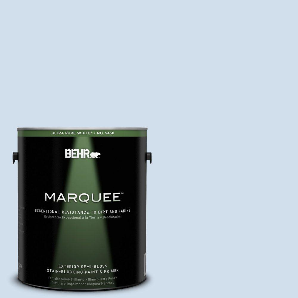 BEHR MARQUEE 1-gal. #560A-1 Pale Sky Semi-Gloss Enamel Exterior Paint-545001 -