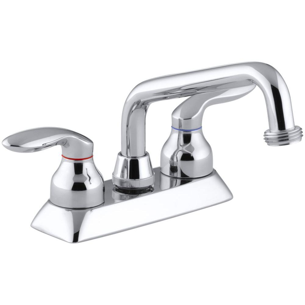 KOHLER Coralais 4 In 2 Handle Low Arc Utility Sink Faucet In Polished Chrome