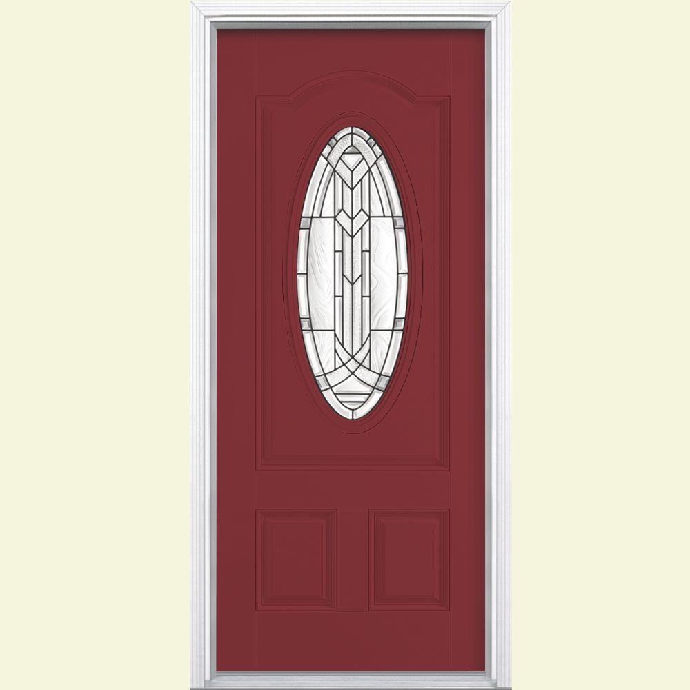 Masonite 36 in. x 80 in. Chatham Three Quarter Oval Lite Painted Smooth Fiberglass Prehung Front Door with Brickmold