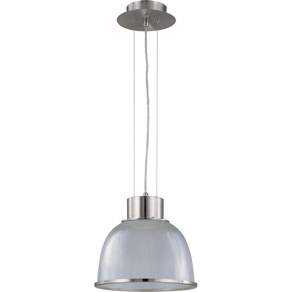Glomar 1-Light Brushed Nickel Pendant with Clear Prismatic Shade
