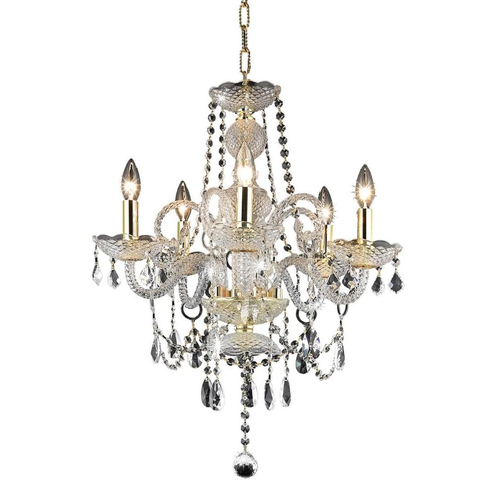 Elegant Lighting 5-Light Gold Chandelier with Clear Crystal