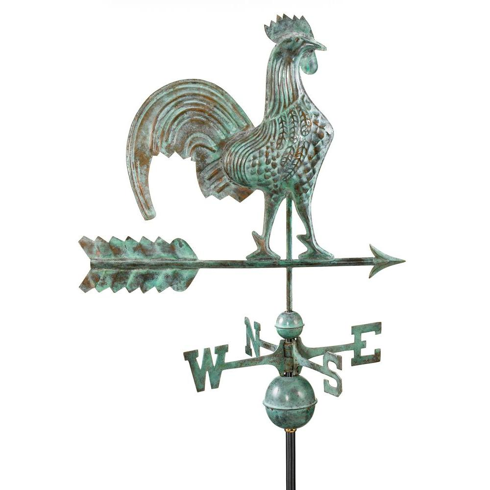 Good Directions 25 in. Rooster Weathervane in Blue Verde Copper-DISCONTINUED