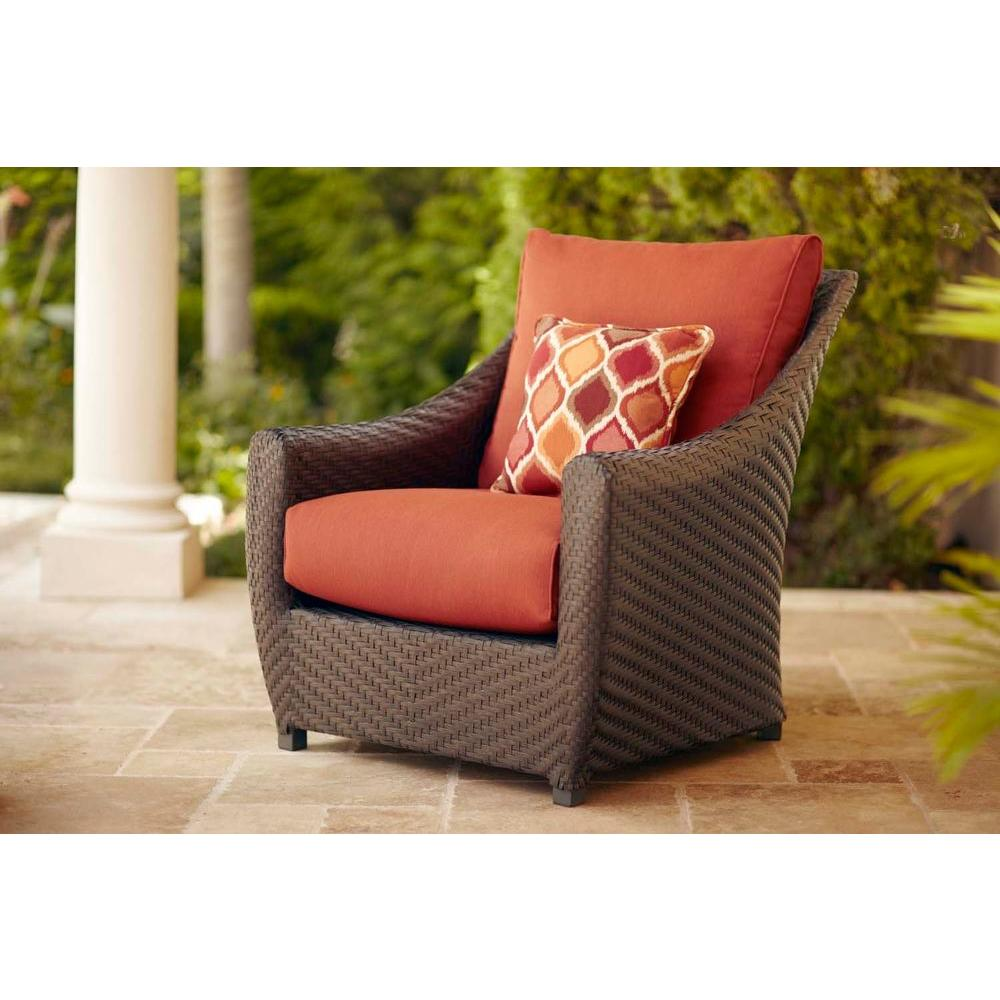 Brown Jordan Highland Patio Lounge Chair with Cinnabar Cushions and Empire Chili Throw Pillow -- STOCK