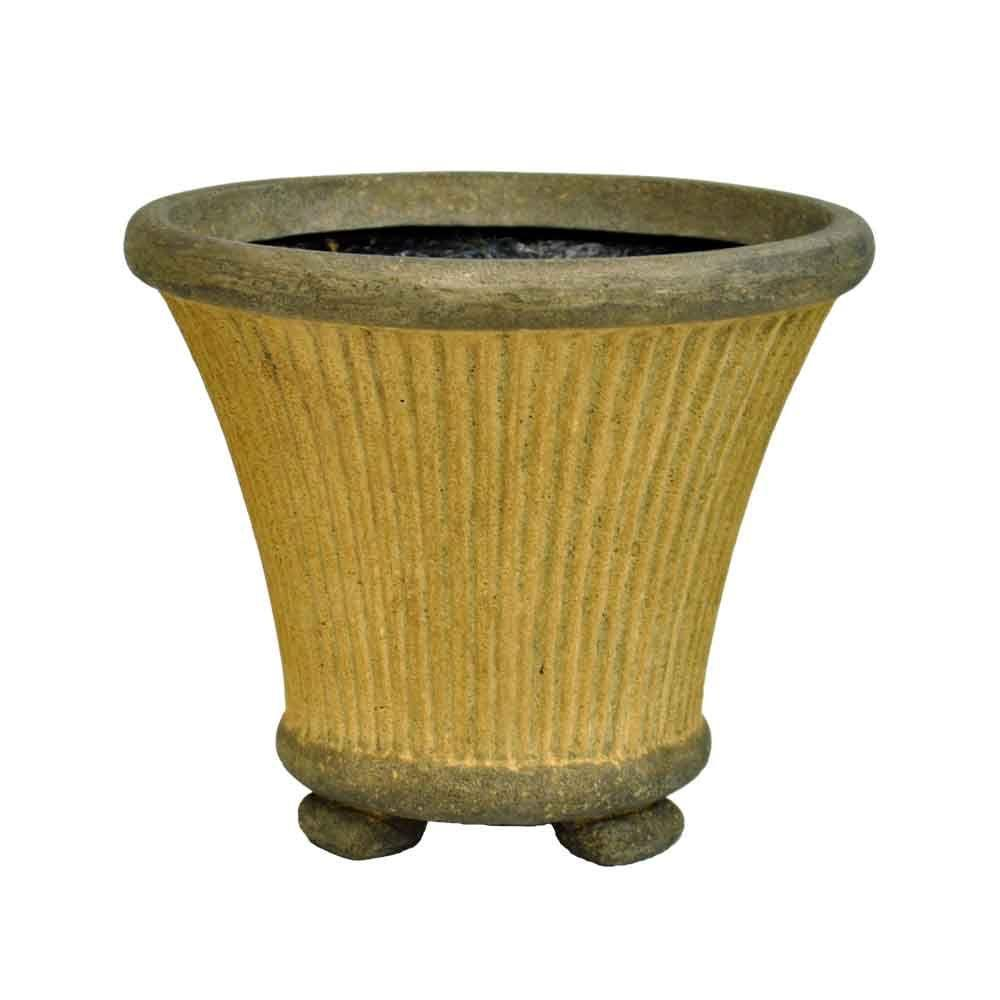 MPG 12 in. Round Sandstone Cast Stone Fluted Pot with Feet