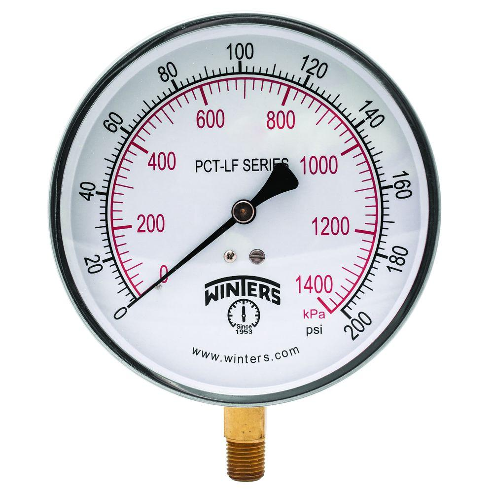 PCT-LF Series 4.5 in. Lead-Free Brass Stainless Steel Pressure Gauge with