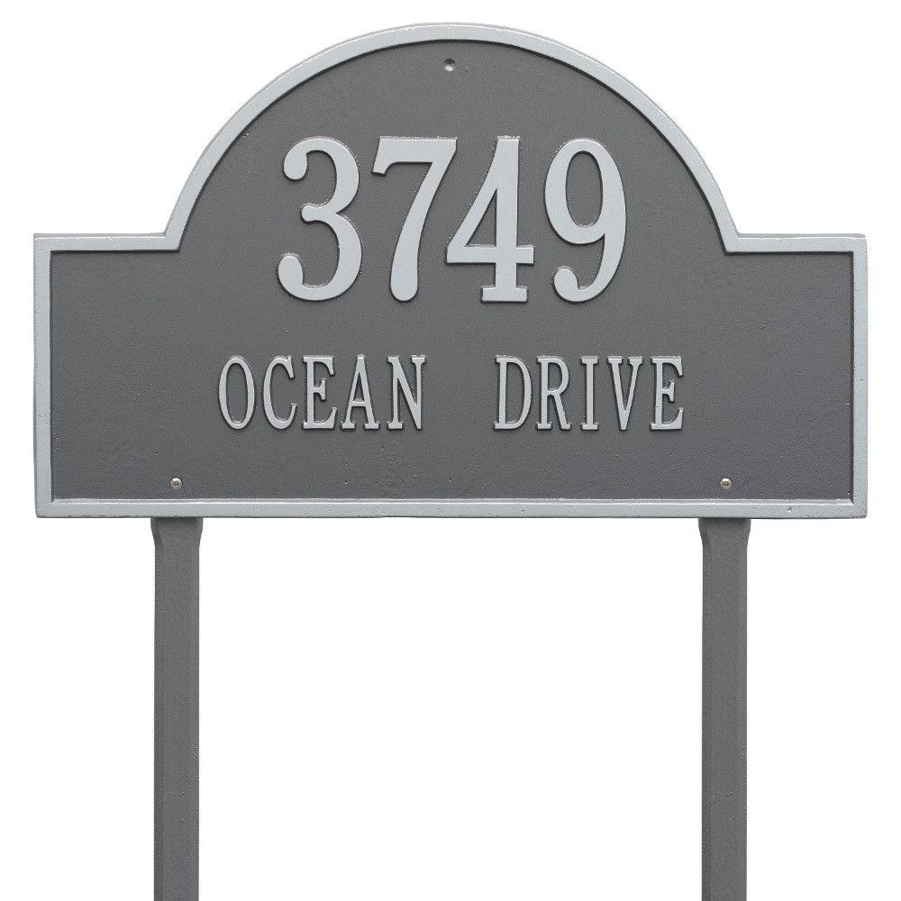 Arch Marker Estate Pewter/Silver Lawn 2-Line Address Plaque