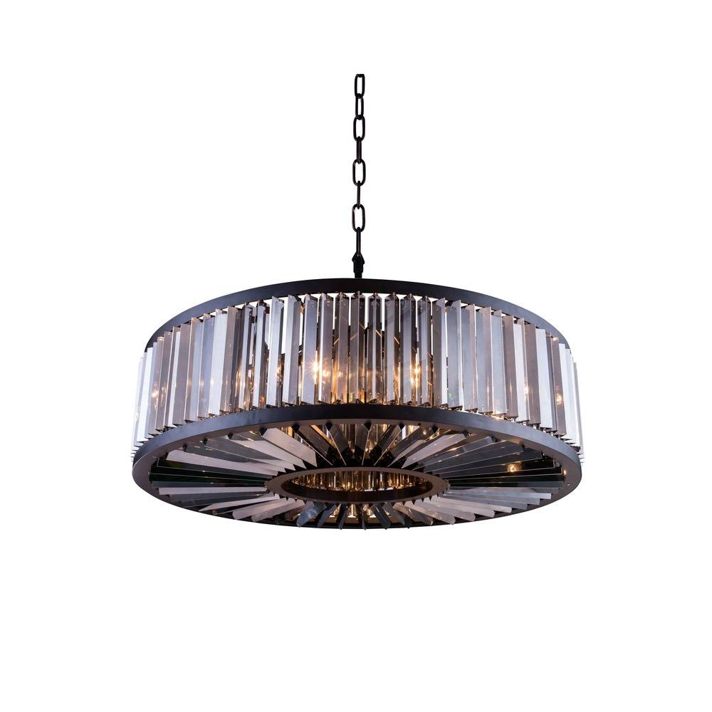 Chelsea 10-Light Mocha Brown Chandelier with Silver Shade Grey Crystal