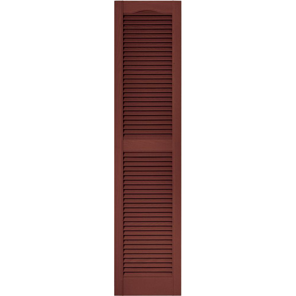 15 in. x 64 in. Louvered Vinyl Exterior Shutters Pair in