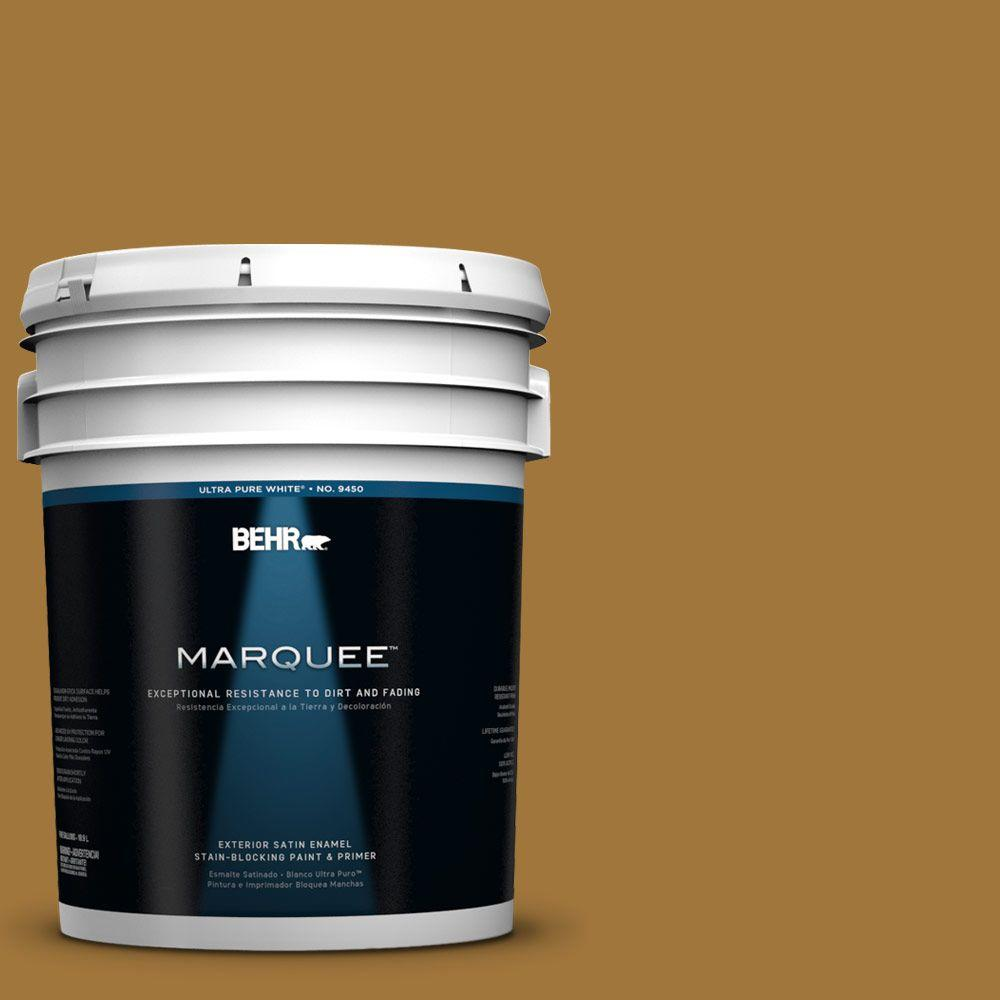 BEHR MARQUEE 5-gal. #310F-6 Goldenrod Tea Satin Enamel Exterior Paint
