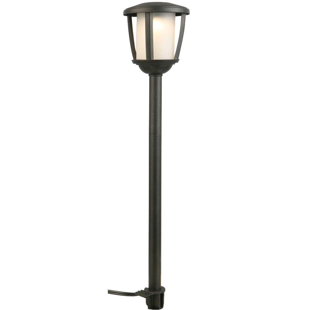 Hampton bay low voltage black outdoor integrated led path for Led yard lights