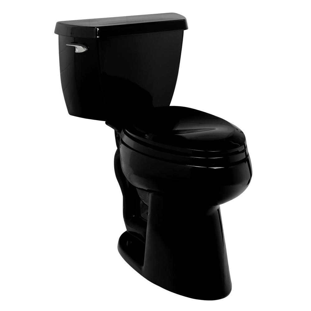KOHLER Wellworth Classic 2-Piece 1.6 GPF Elongated Toilet with Insuliner Tank Liner, Less Seat in Black-DISCONTINUED
