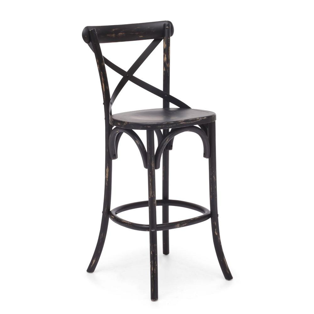 ZUO Union Black Square Bar Chair