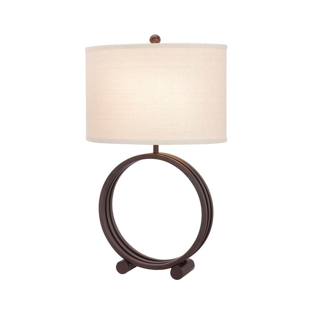 26.5 in. Oil Rubbed Bronze Metal Circle Table Lamp