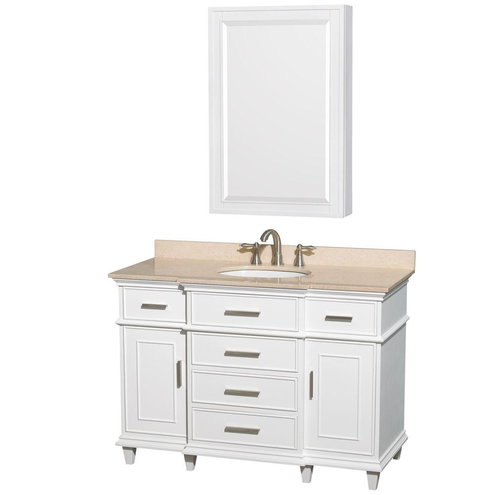 Wyndham Collection Berkeley 48 in. Vanity in White with Marble Vanity