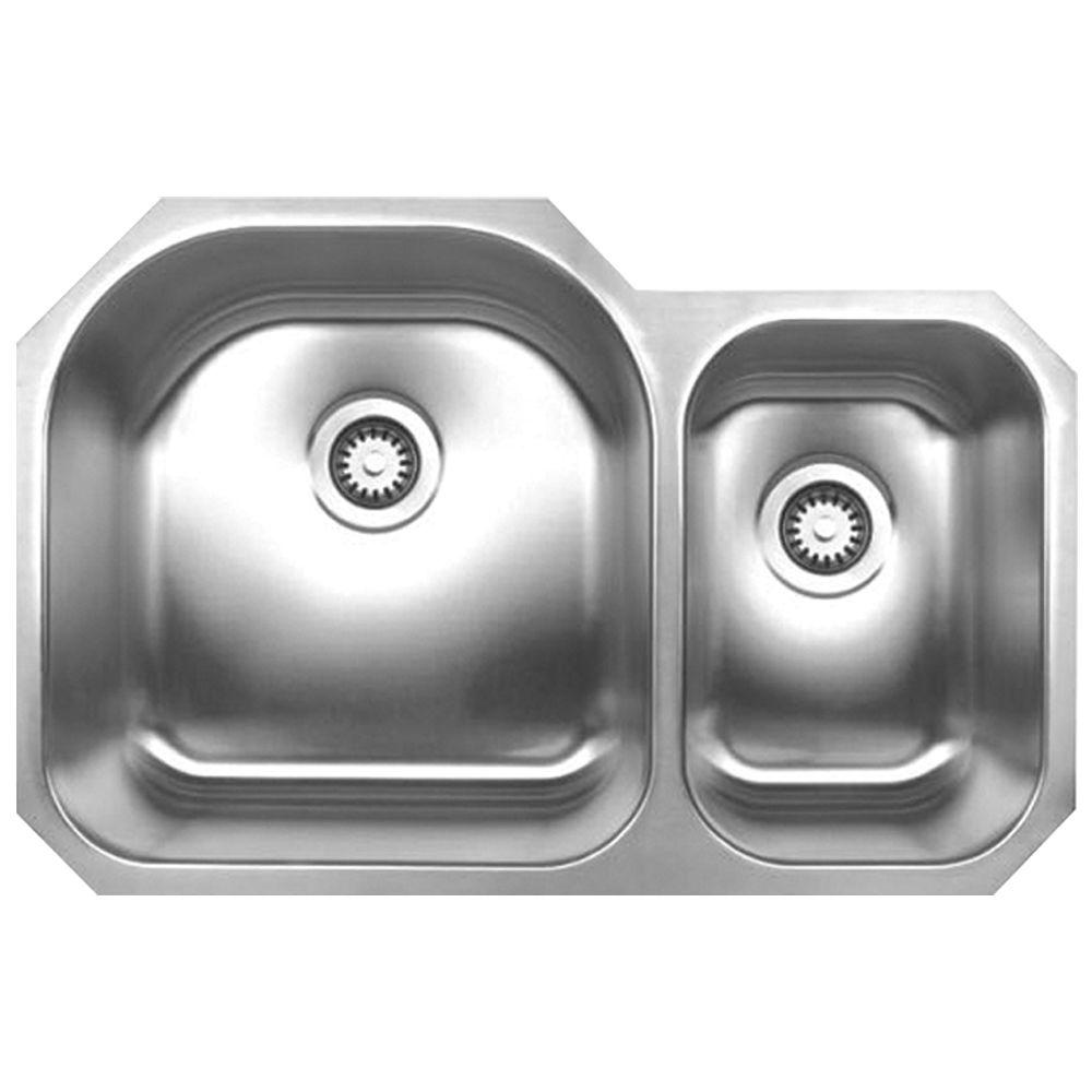 Whitehaus Collection Noah's Collection Undermount Brushed Stainless Steel 31-1/2 in. 0-Hole Double Basin Kitchen Sink