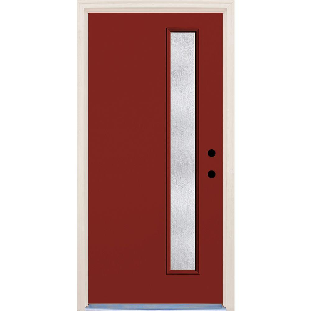 Builder's Choice 36 in. x 80 in. Cordovan 1 Lite Rain Glass Painted Fiberglass Prehung Front Door with Brickmould