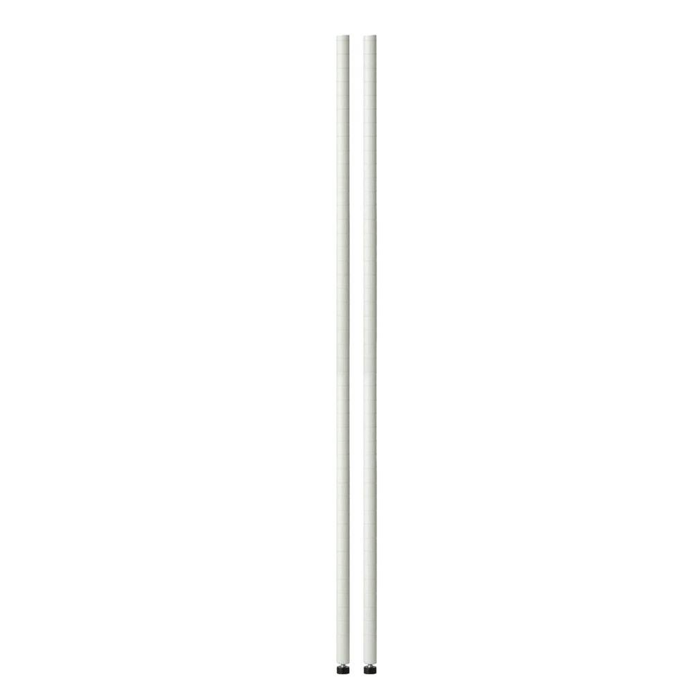 Honey-Can-Do 72 in. H Pole with Leg Levelers in White (2-Pack)