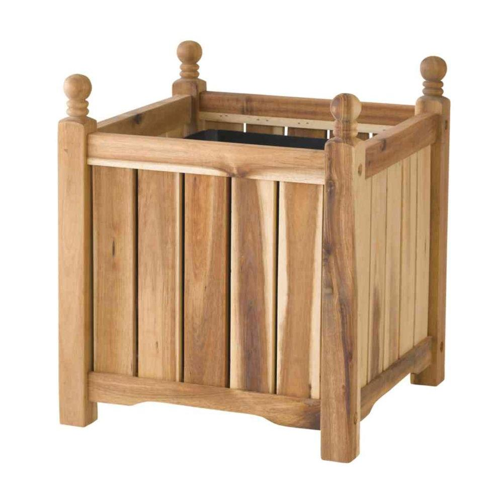 Lexington 14 in. Square Natural Wood Planter