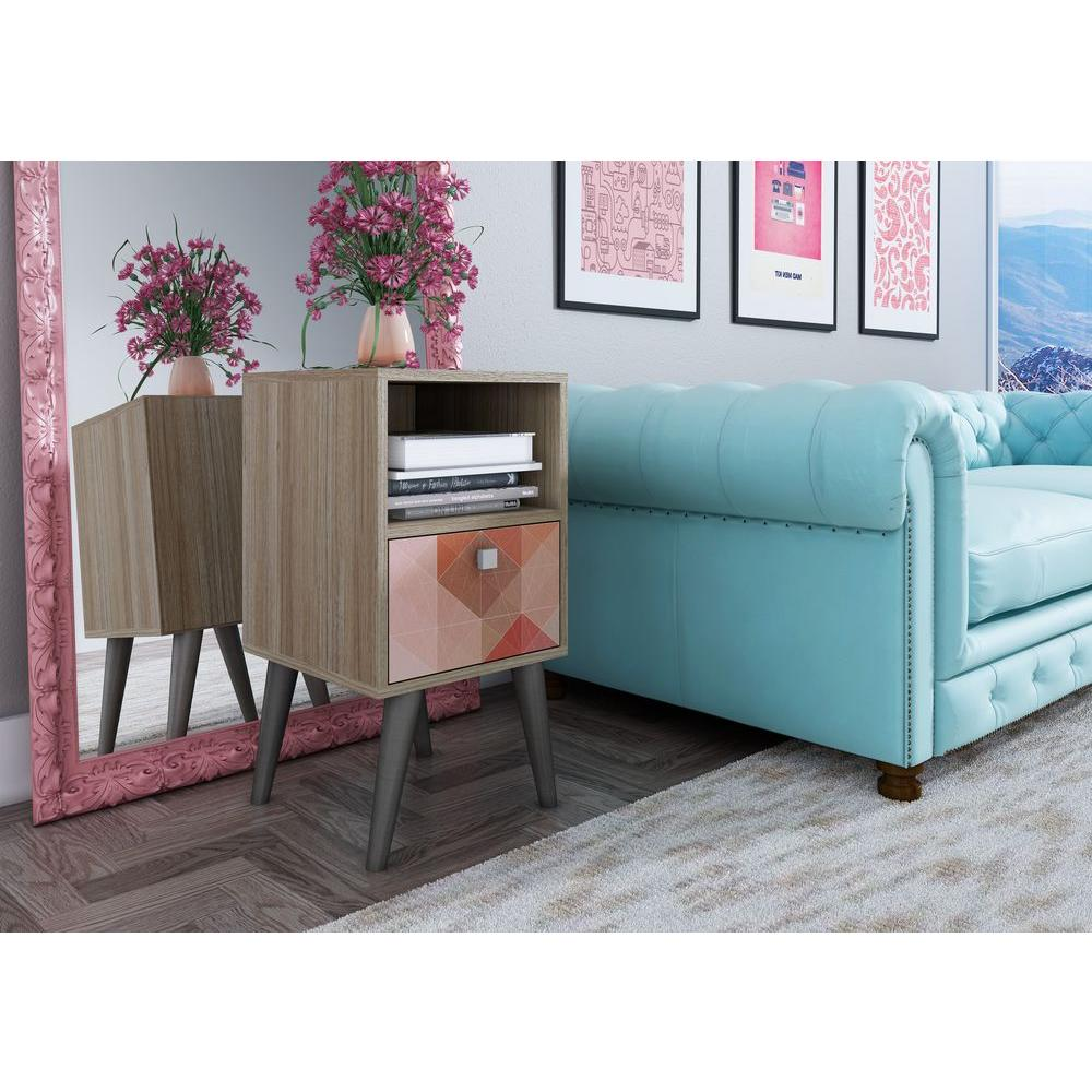 Manhattan Comfort Abisko Stylish Oak and Colorful Stamp Door Side Table