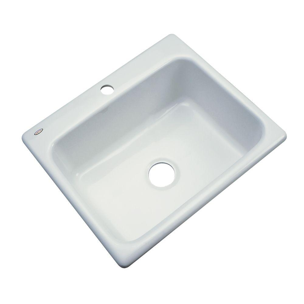 Inverness Drop-In Acrylic 25 in. 1-Hole Single Basin Kitchen Sink in