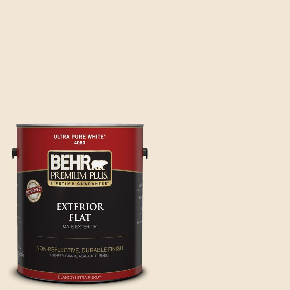 BEHR Premium Plus 1 gal. #13 Cottage White Flat Exterior Paint-405001