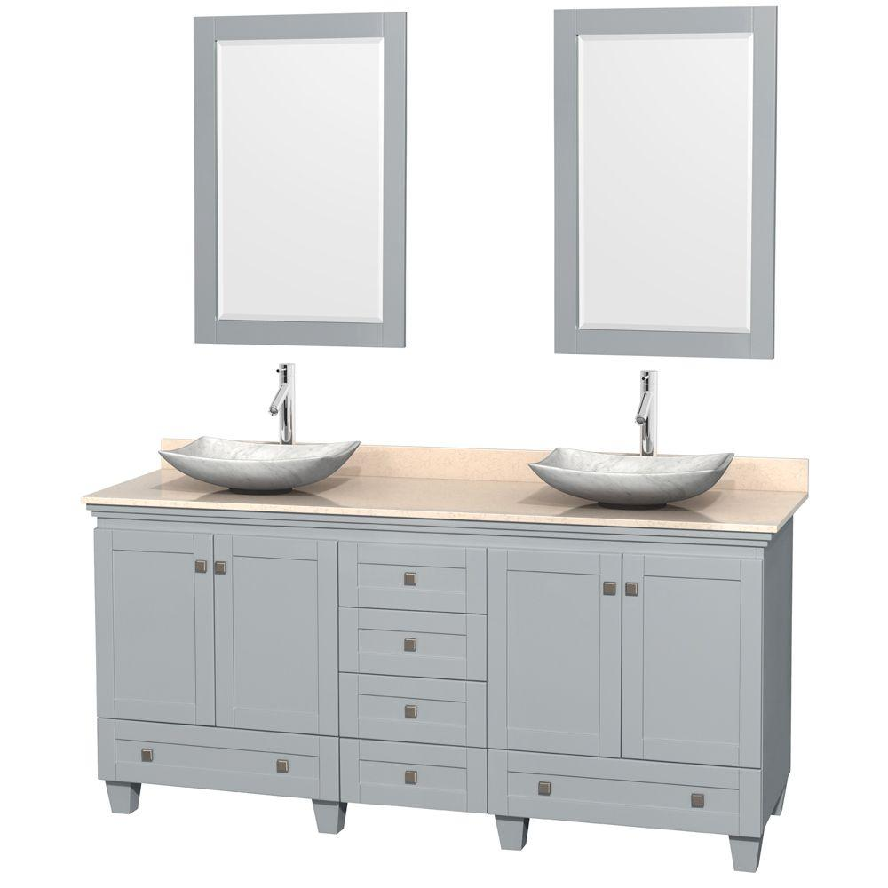 Acclaim 72 in. W x 22 in. D Vanity in Oyster Gray with Marble Vanity Top in Ivory with White Basins and 24 in. Mirrors