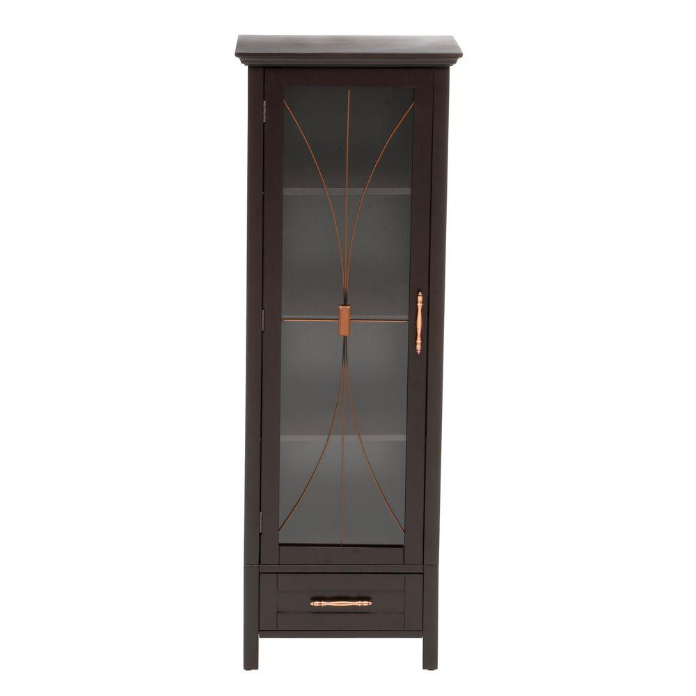 Elegant Home Fashions Victorian 15 in. W x 12.5 in. D x 34 in. H Floor Cabinet in Espresso
