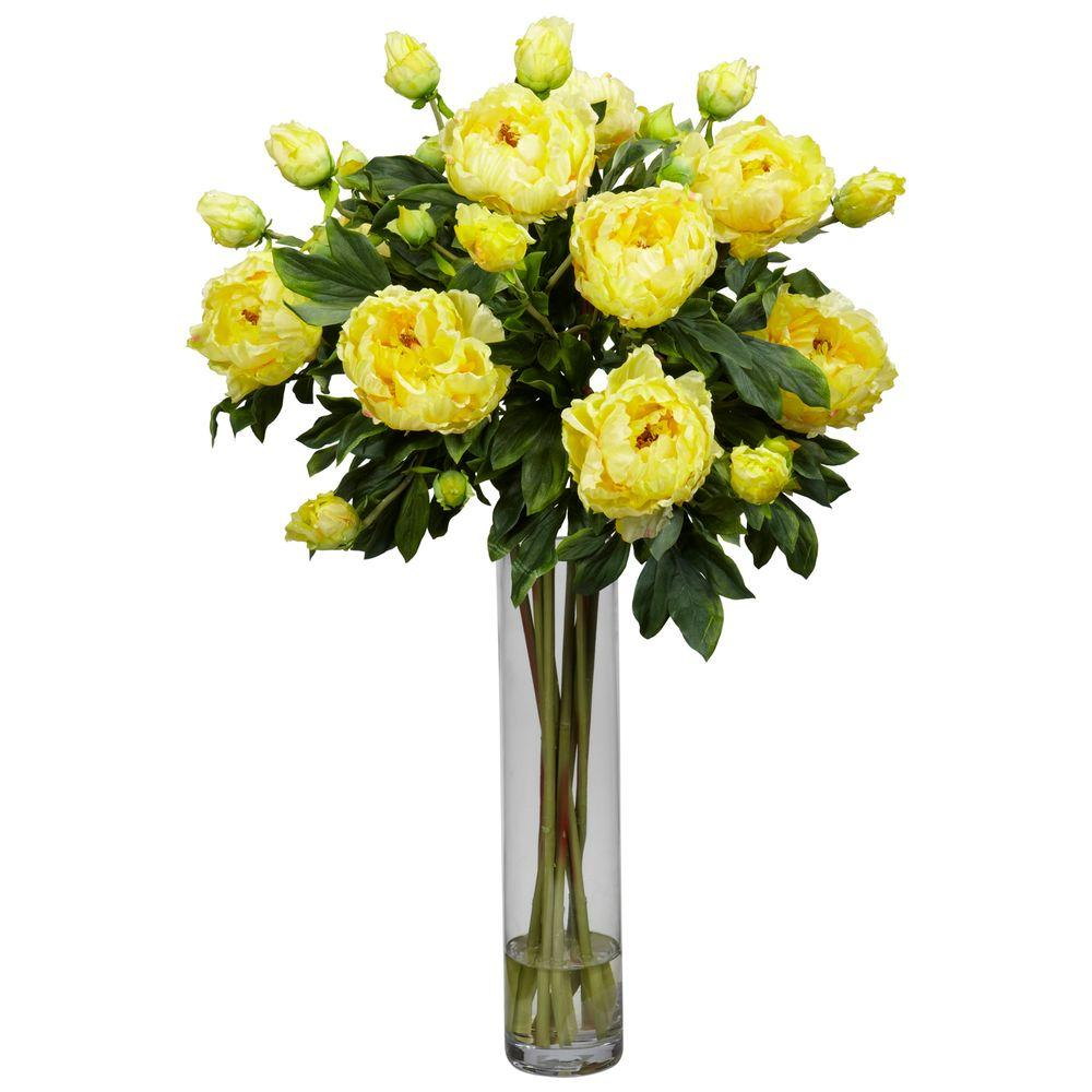 32 in. H Yellow Peony with Cylinder Silk Flower Arrangement-1230-YL -