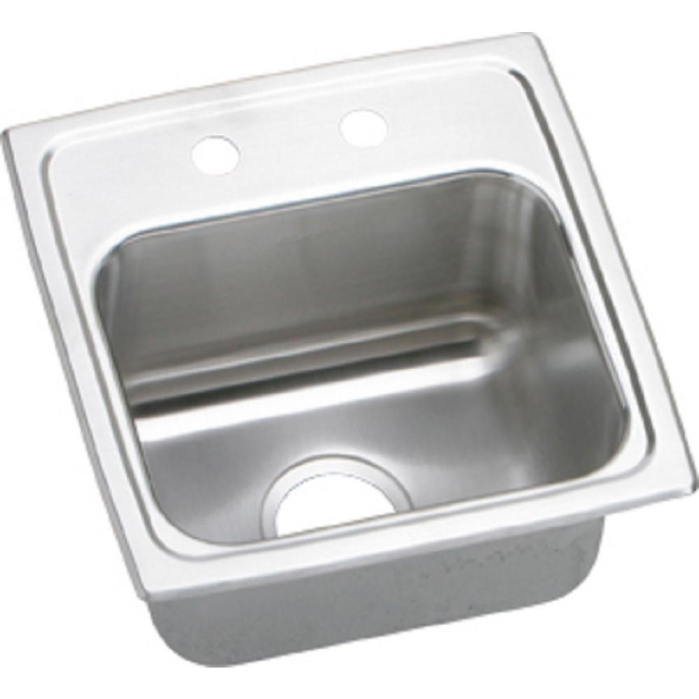 Gourmet Drop-In Stainless Steel 15 in. 2-Hole Single Bowl Bar Sink
