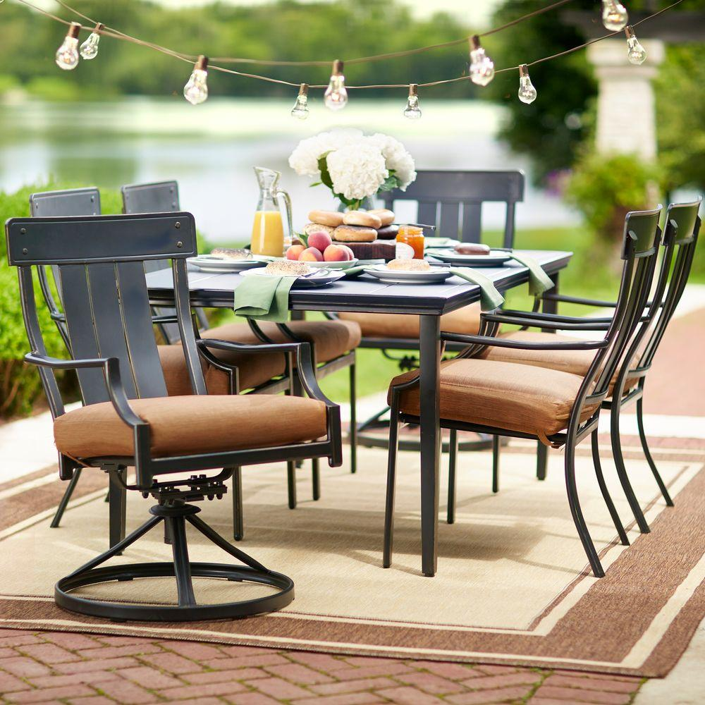 Oak Heights 7 Piece Patio Dining Set With Cashew Cushions  Home Depot Patio