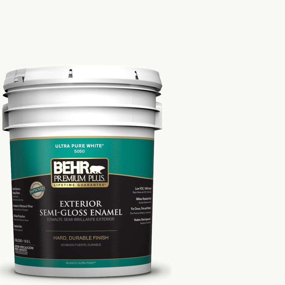 5-gal. #PR-W15 Ultra Pure White Semi-Gloss Enamel Exterior Paint