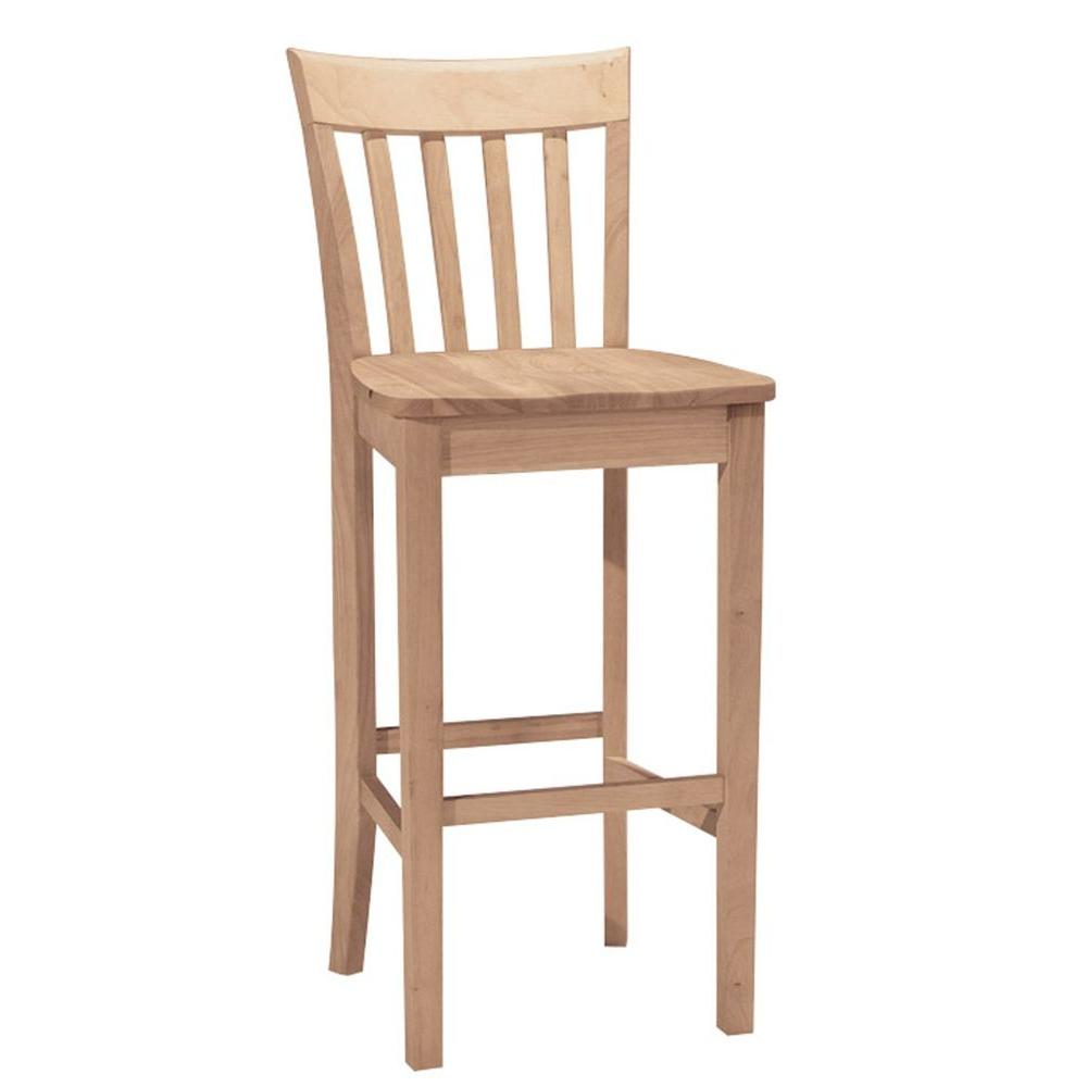 International concepts 30 in unfinished wood bar stool s 3013 the home depot Home depot wood bar stools