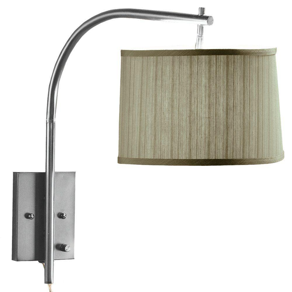 Home Decorators Collection Arch 1-Light Brushed Steel Wall Medium Swing-Arm Pin-up Lamp-DISCONTINUED