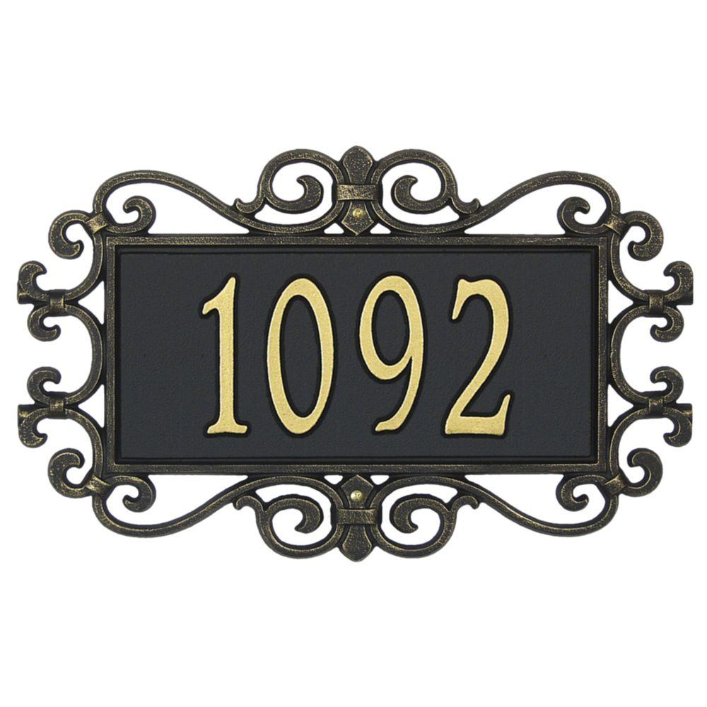 Mears Fretwork Rectangular Black/Gold Standard Wall One Line Address Plaque