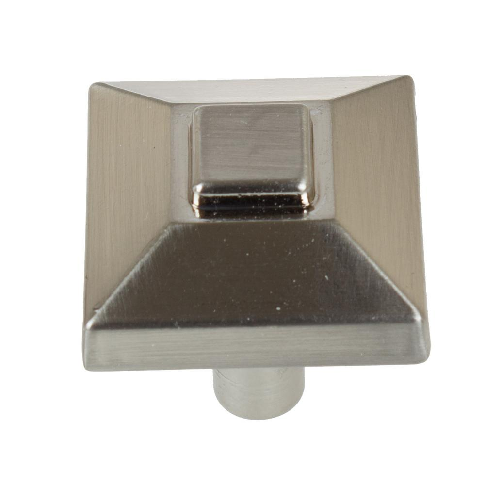 7/8 in. Satin Nickel Square Pyramid Cabinet Knob (10-Pack)