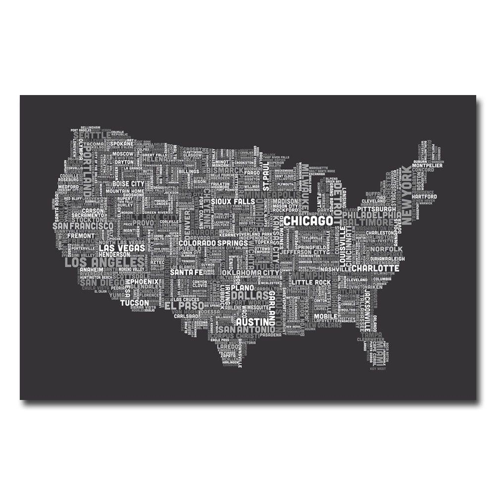 30 in. x 47 in. US Cities Text Map III Canvas