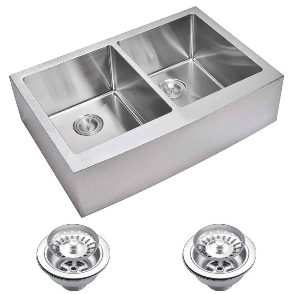 Water Creation Farmhouse Apron Front Small Radius Stainless Steel 33 in.