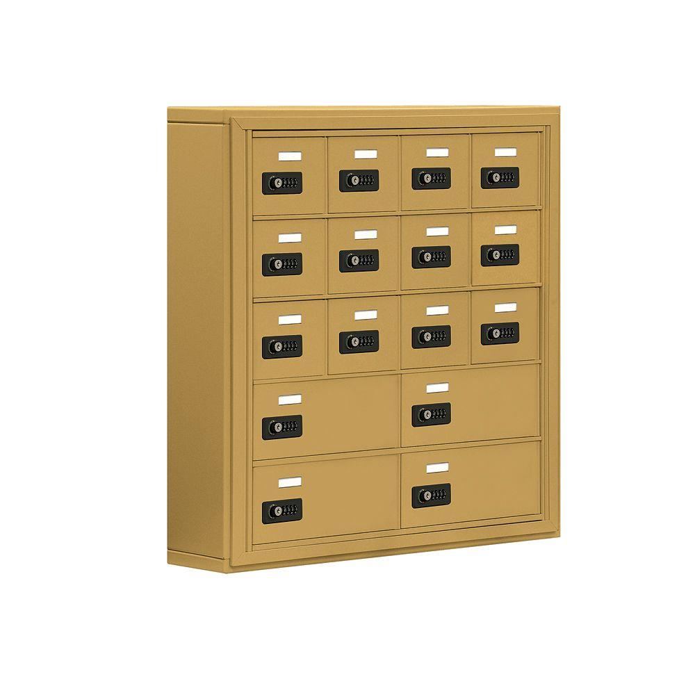 Salsbury Industries 19000 Series 30.5 in. W x 31 in. H x 6.25 in. D 12 A/4 B Doors S-Mount Resettable Locks Cell Phone Locker in Gold