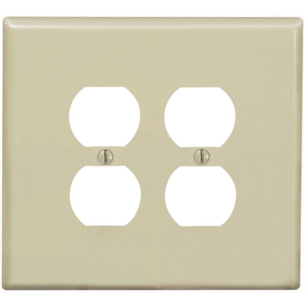 Leviton 2-Gang Jumbo Duplex Outlet Wall Plate, Ivory-R51-86116-00I - The Home