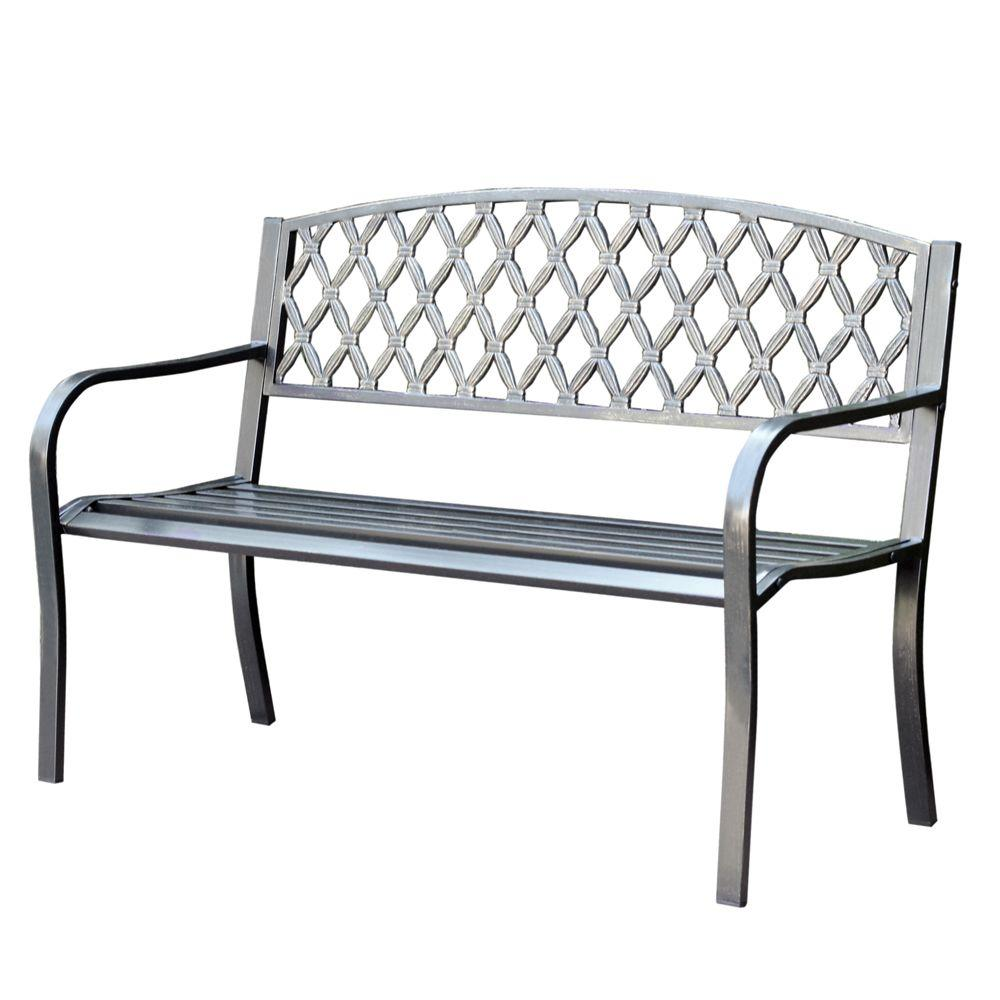 Jeco 50 In Crossweave Curved Back Steel Park Bench PB004