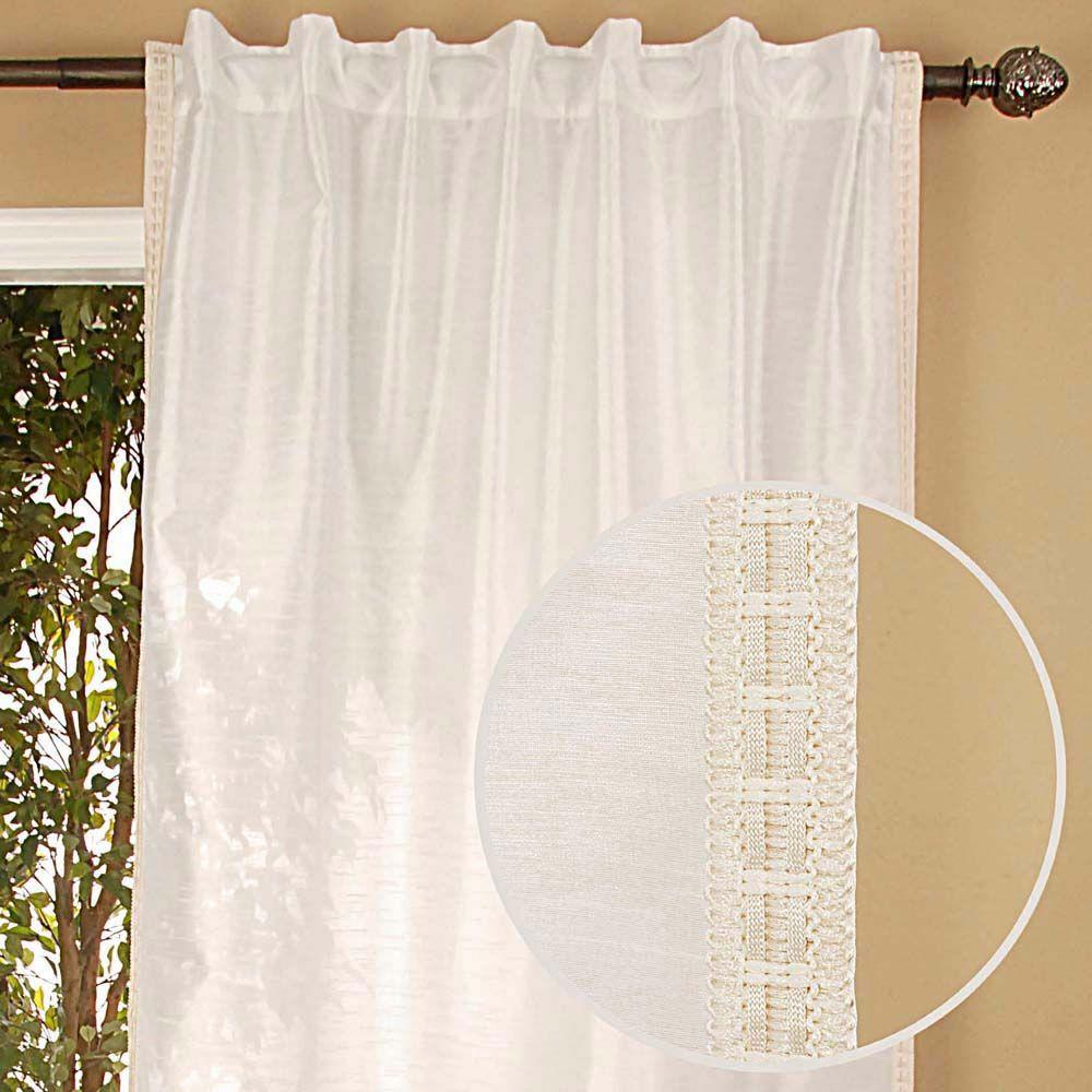 Home Decorators Collection Semi-Opaque Polysilk Ivory Back Tab Curtain