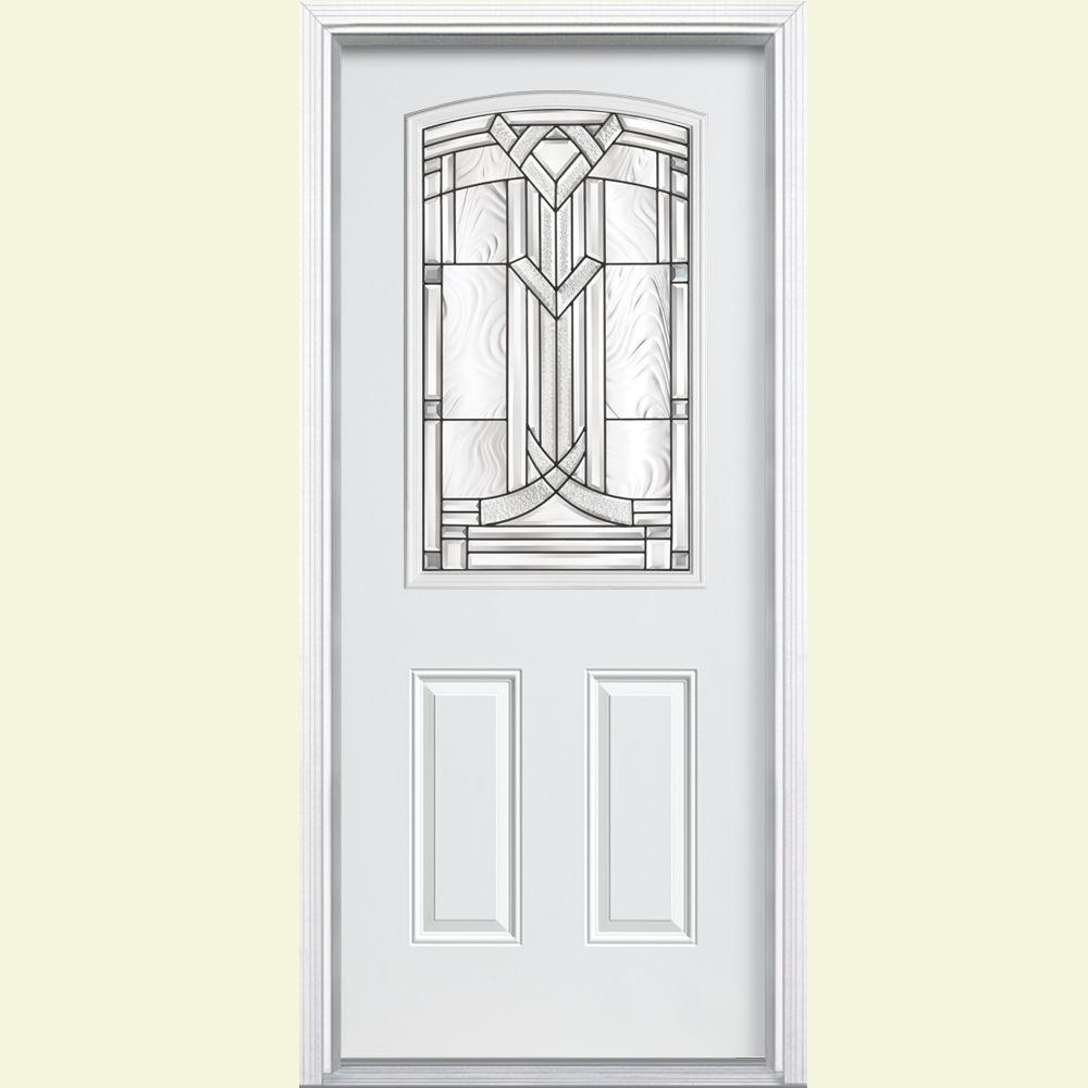 Masonite 36 in. x 80 in. Chatham Camber 1/2 Lite Primed Steel Prehung Front Door with Brickmold