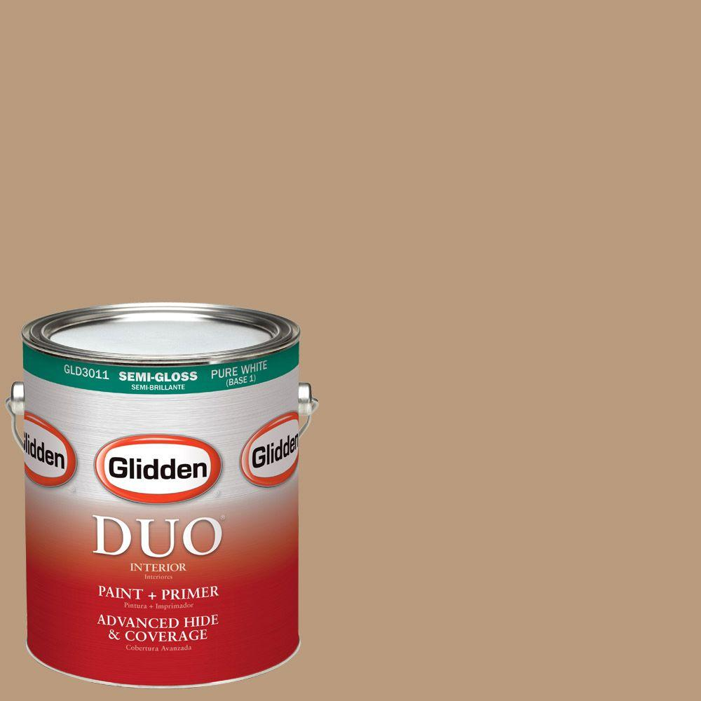 1-gal. #HDGWN20 Warm Caramel Semi-Gloss Latex Interior Paint with Primer