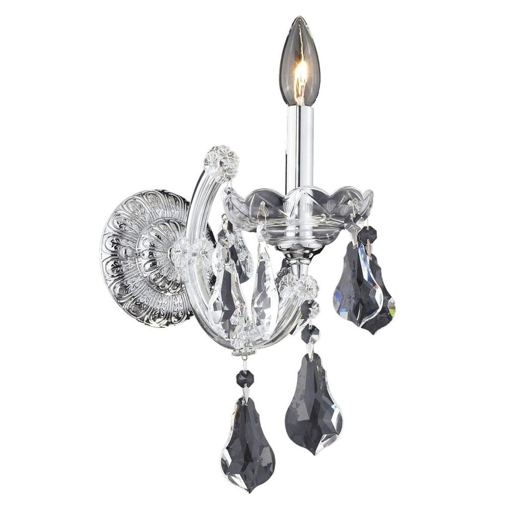 Elegant Lighting 1-Light Chrome Sconce with Clear Crystal