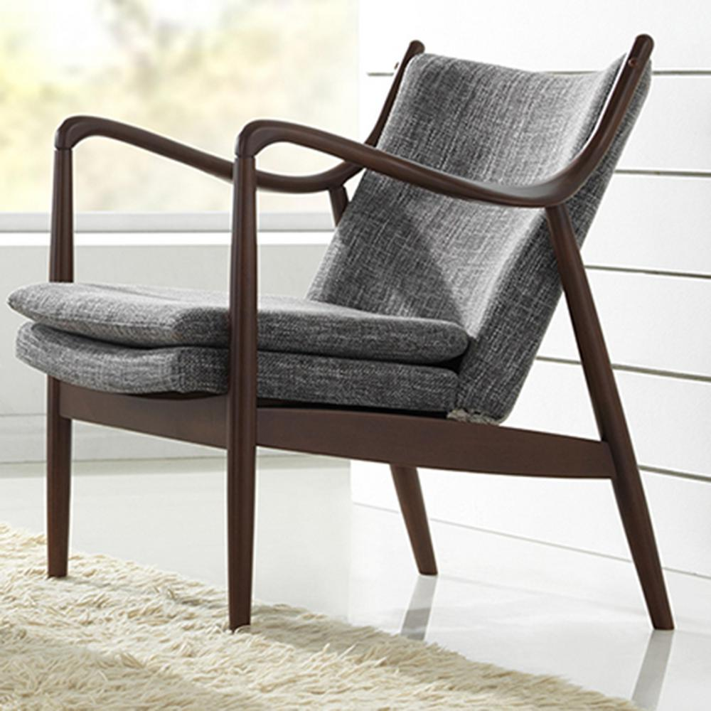 Shakespeare Mid-Century Gray Fabric Upholstered Accent Chair