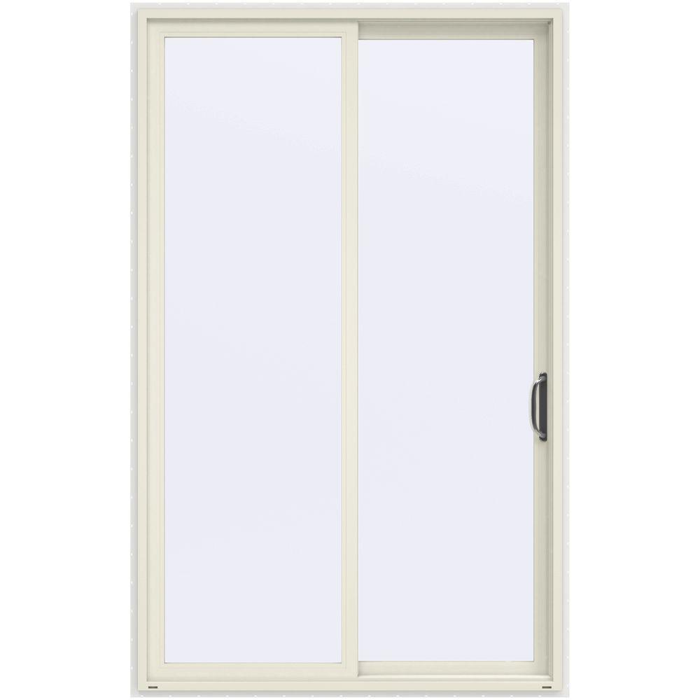 JELD-WEN 60 in. x 96 in. V-4500 French Vanilla Prehung Right-Hand Sliding 1-Lite Vinyl Patio Door with White Interior