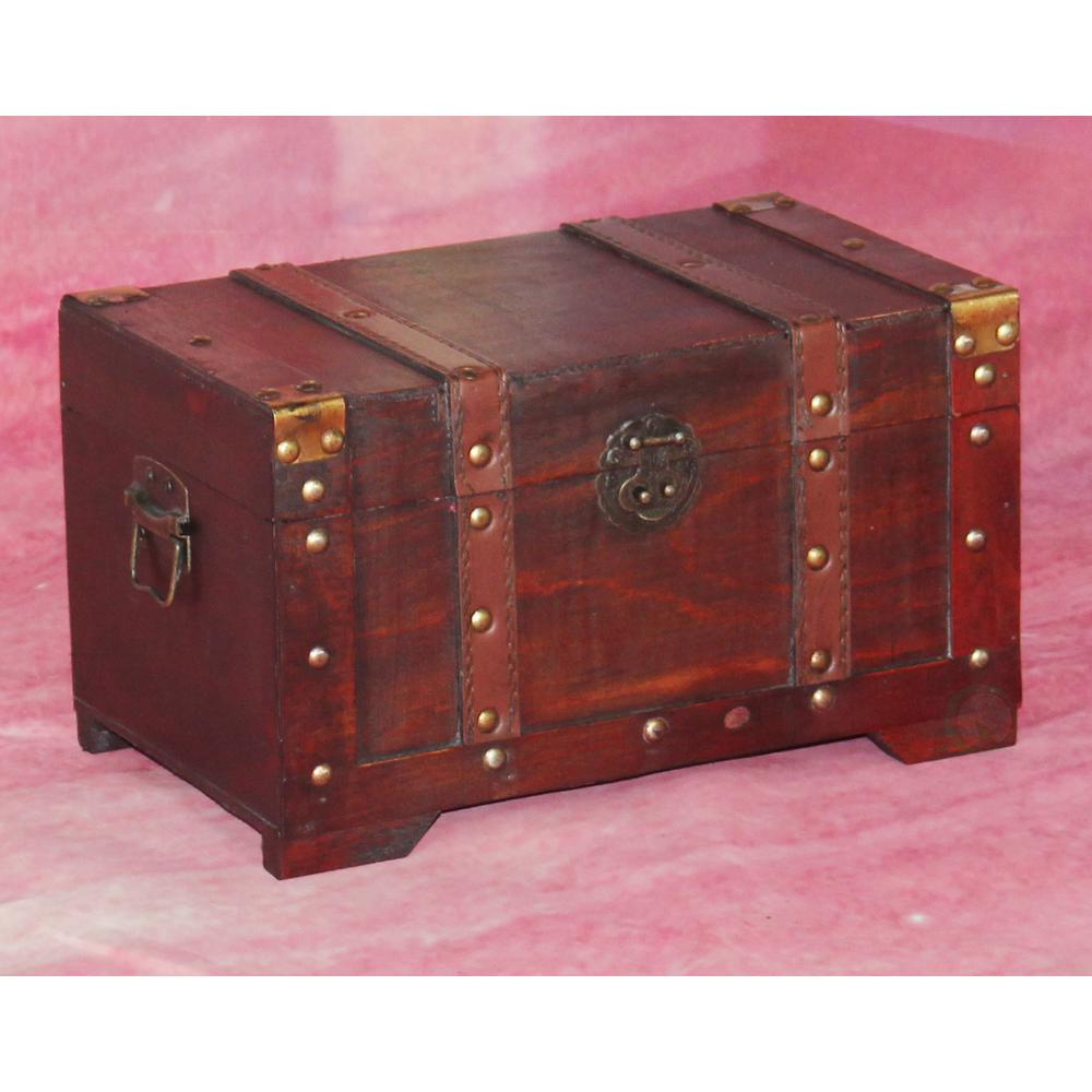 Vintiquewise 11 in. x 6.4 in. Wooden Antique Style Small Trunk-QI003001