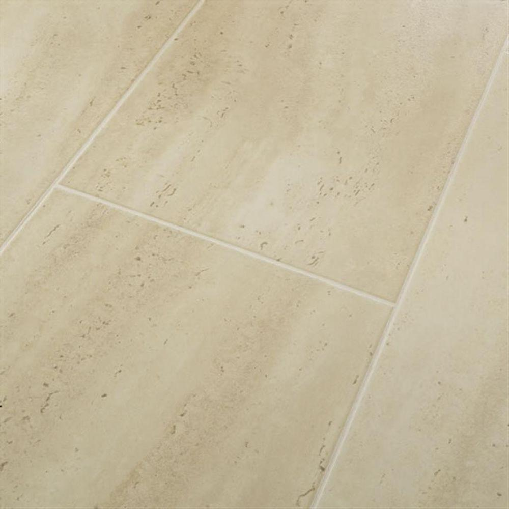 Hampton Bay Roman Tile Beige Laminate Flooring - 5 in. x 7 in. Take Home Sample-DISCONTINUED