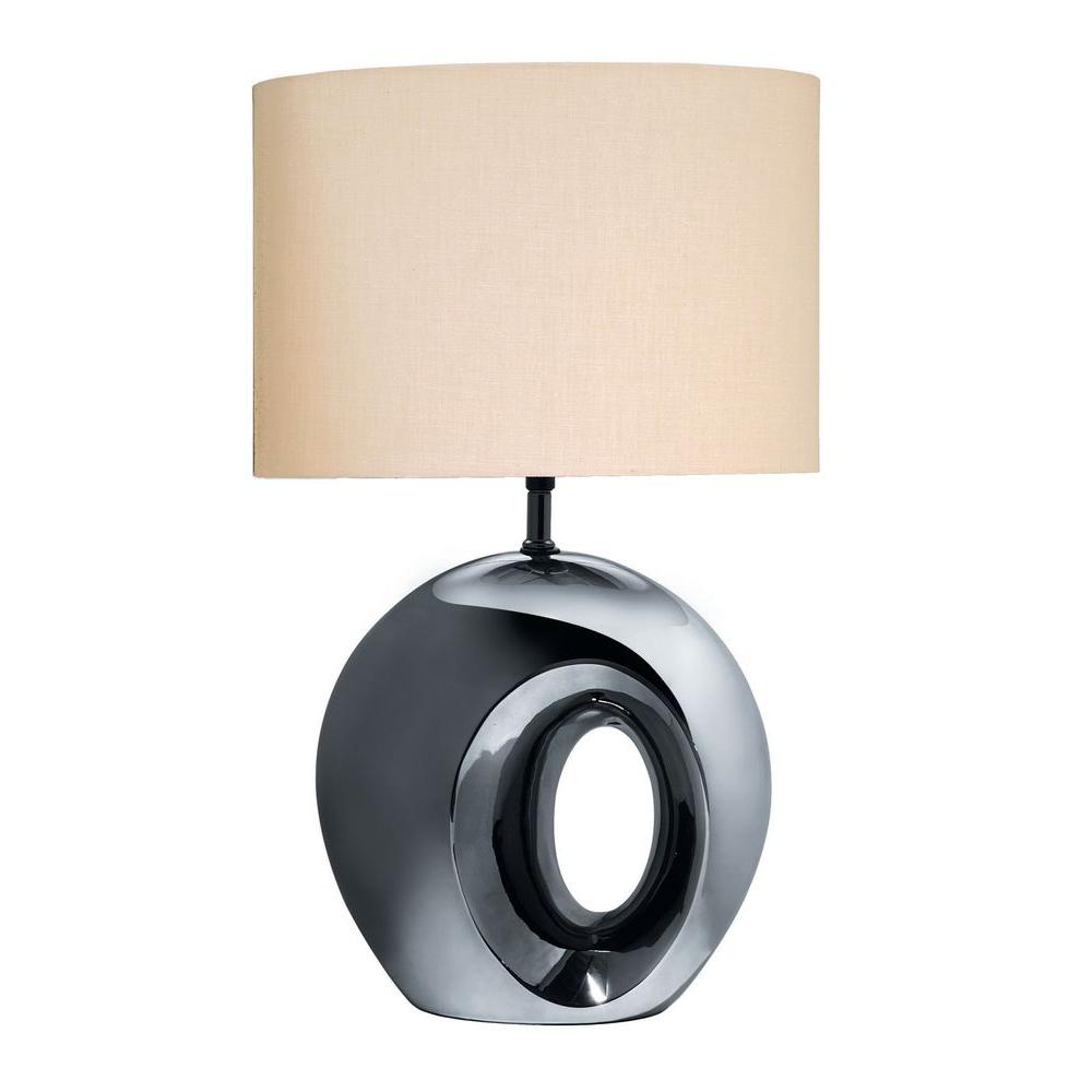 Illumine 23 in. Black and Chrome Table Lamp