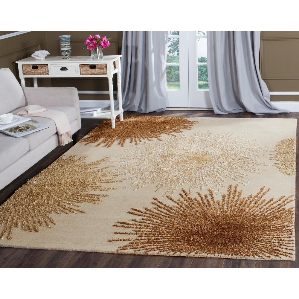 Soho Beige Wool 6 ft. x 9 ft. Area Rug